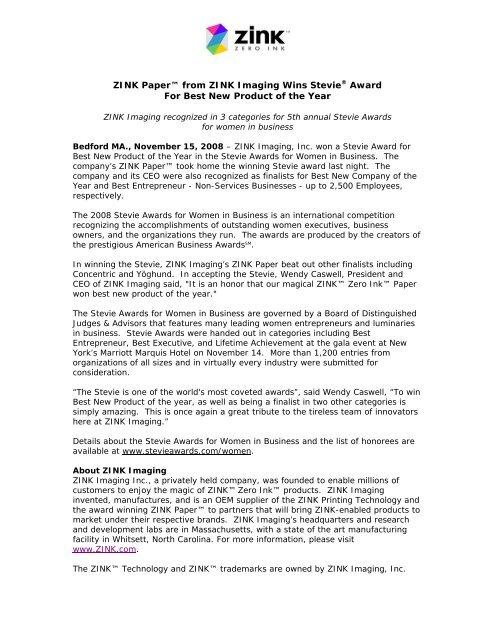 Stevie Winner Press Release Template Zink