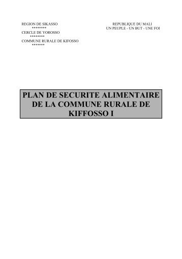 plan de securite alimentaire de la commune rurale de kiffosso i