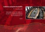 Actes de la 5e Conférence européenne des familles - Coface