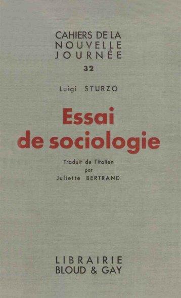 Sturzo Essai de sociologie - Institut Coppet