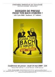 DOSSIER DE PRESSE - Bach Cantatas