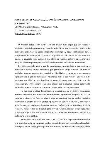 MANIFESTANTES NA EDUCAÇÃO DO SÉCULO XIX: O ... - ANPEd