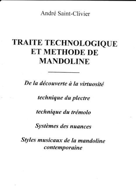Traité Technologique et Méthode de Mandoline - André Saint-Clivier