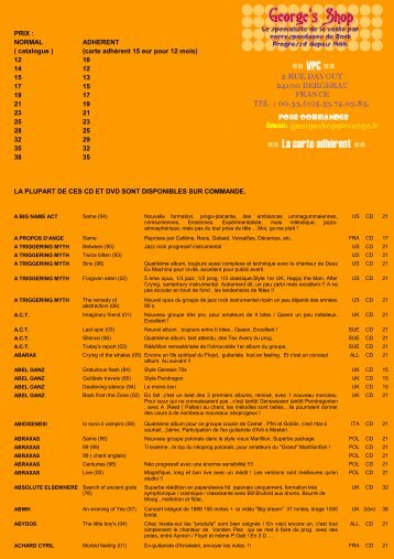 PRIX : NORMAL ADHERENT ( catalogue ) 12 10 14 12 15 ... - Shop 33