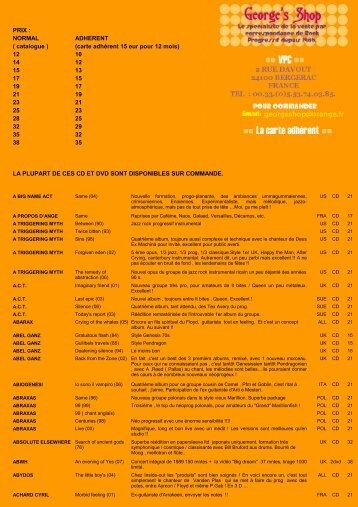 PRIX : NORMAL ADHERENT ( catalogue ) 12 10 14 12 15 ... - Shop 33