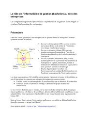 Le rôle de l'informaticien de gestion (bachelor) au sein des entreprises