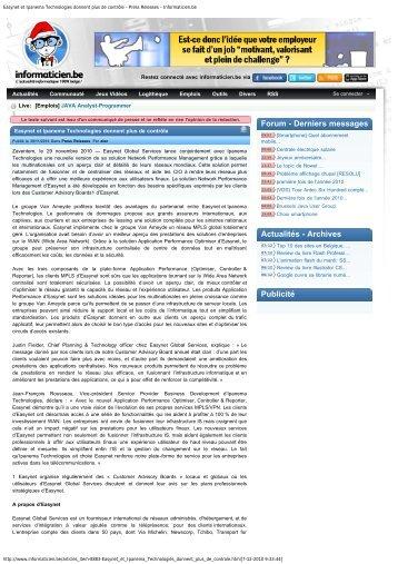 Press Releases - Informaticien.be - Easynet