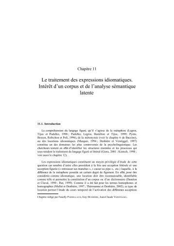 Le traitement des expressions idiomatiques. Intérêt d'un corpus et ...