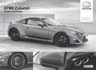 Preisliste GT86 Zubehör