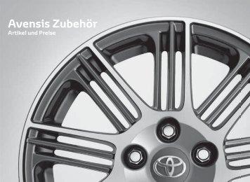 Preisliste Avensis Zubehör