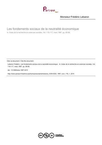 Les fondements sociaux de la neutralité économique - Université de ...