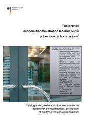 Table ronde économie/administration fédérale sur la prévention de ...