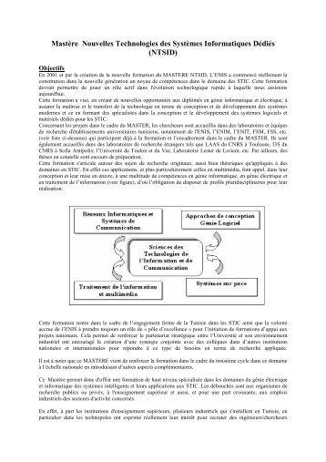 Mastère Nouvelles Technologies des Systèmes Informatiques Dédiés