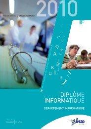Brochure IF 2010 - Département Informatique - INSA de Lyon
