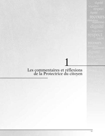 1 Les commentaires et réflexions de la Protectrice du citoyen (PDF ...