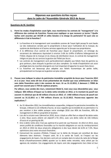 Questions écrites à l'Assemblée Générale - Accor