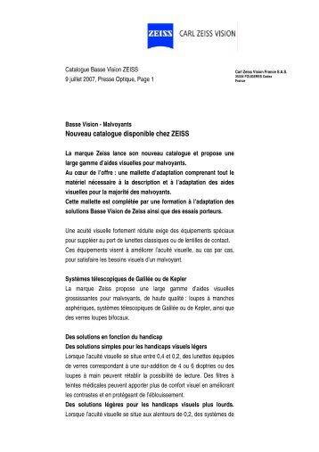 Nouveau catalogue disponible chez ZEISS - France Optique