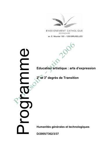 Education artistique : arts d'expression 2 et 3 degrés de ... - SeGEC