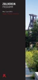 Programmheft Mai – Juni 2013 - Zeche Zollverein