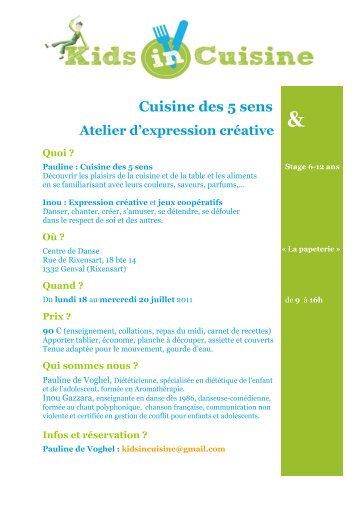 Page 1 Cuisine des 5 sens Atelier d'expression créative Quoi ...