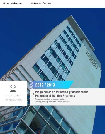 Programmes de formation professionnelle Professional Training ...