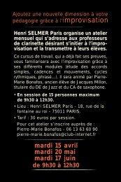 mardi 15 avril mardi 20 mai mardi 17 juin - Henri Selmer Paris