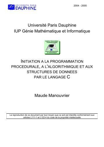Université Paris Dauphine IUP Génie Mathématique et Informatique ...