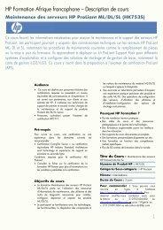 Maintenance des serveurs HP ProLiant ML/DL/SL (HK753S)