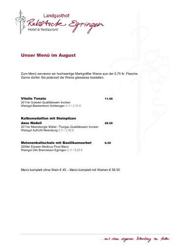 Unser Menü im August - Landgasthof Rebstock Egringen