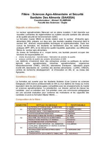 Sciences Agro-Alimentaire et Sécurité Sanitaire Des ... - 3g concept