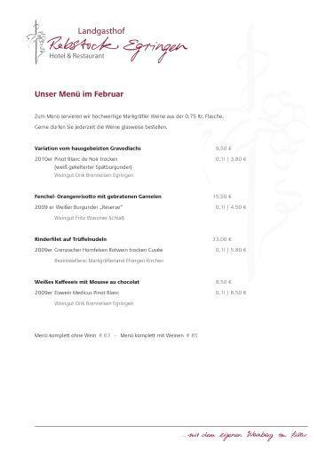 Unser Menü im Februar - Landgasthof Rebstock Egringen
