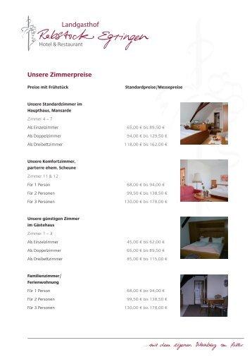 Unsere Zimmerpreise - Landgasthof Rebstock Egringen