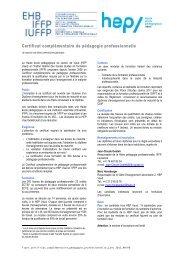 Présentation du certificat de pédagogie professionnelle - HEP Vaud