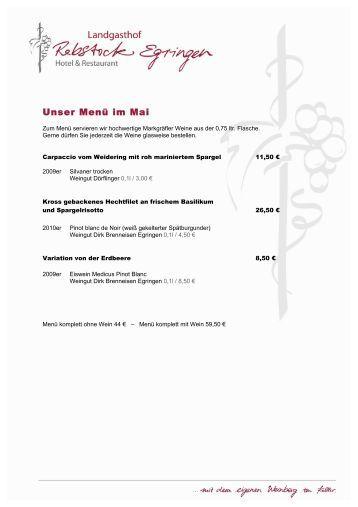 Unser Menü im Mai - Landgasthof Rebstock Egringen