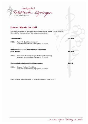 Unser Menü im Juli - Landgasthof Rebstock Egringen