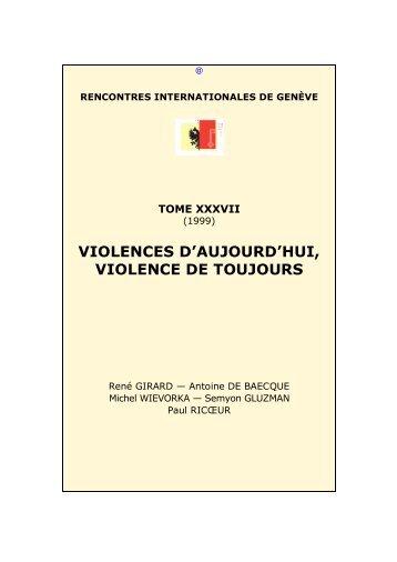 Violences d'aujourd'hui, violence de toujours - Rencontres ...