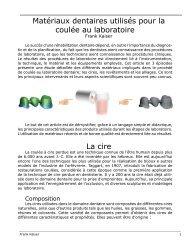 Matériaux dentaires utilisés pour la coulée au ... - Dentalstrategy