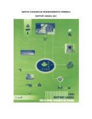 Rapport annuel 2001 - Service canadien de renseignements criminels