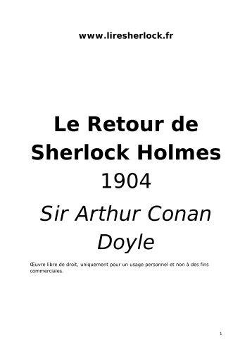 Le Retour de Sherlock Holmes 1904 Sir Arthur ... - Lire Sherlock