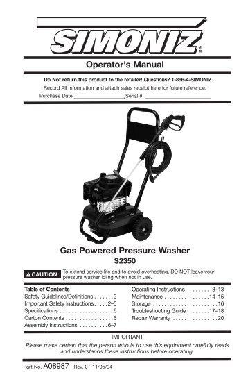 pressure washer repair manual allparts equipment user guide manual