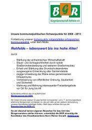 Unser Wahlprogramm für 2008 - Rehfelde