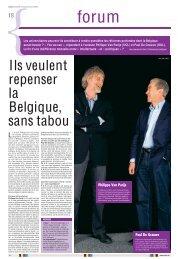 Le Soir – Ils veulent repenser la Belgique sans tabou