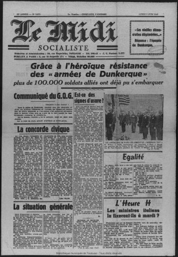 des «armées de Dunkerque» - Bibliothèque de Toulouse