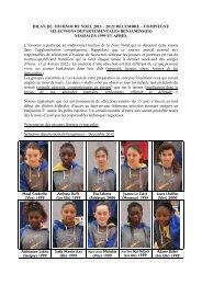 BILAN DU TOURNOI DE NOEL 2011 – 20/22 DECEMBRE ...