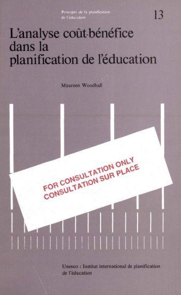 L'Analyse coût-bénéfice dans la planification de ... - unesdoc - Unesco