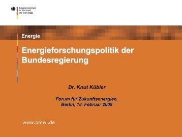 Energieforschungspolitik der Bundesregierung - Forum für ...