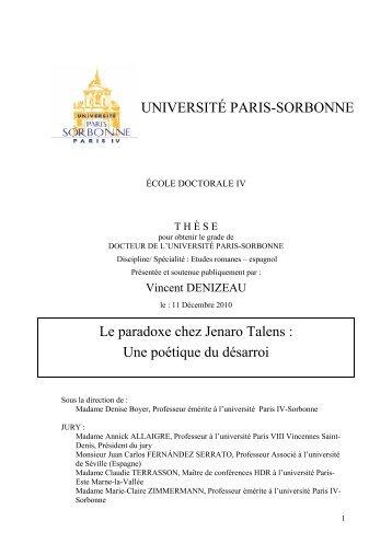 UNIVERSITÉ PARIS-SORBONNE Le paradoxe chez ... - e-Sorbonne