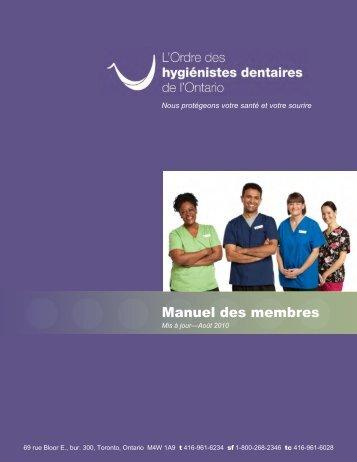 Manuel des membres - College Of Dental Hygienists of Ontario
