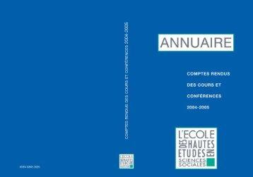 Comptes rendus des cours et conférences de l'EHESS 2004-2005