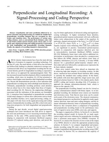 Perpendicular and longitudinal recording - IBM Zurich Research ...